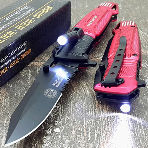 Tac-force RED Fire Fighter Assisted Open Rescue LED Light Pocket Knife