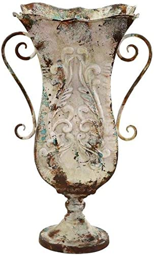 French Country 13-inch Wide X 21-inch High Iron Urn Planter Vase Beige Traditional
