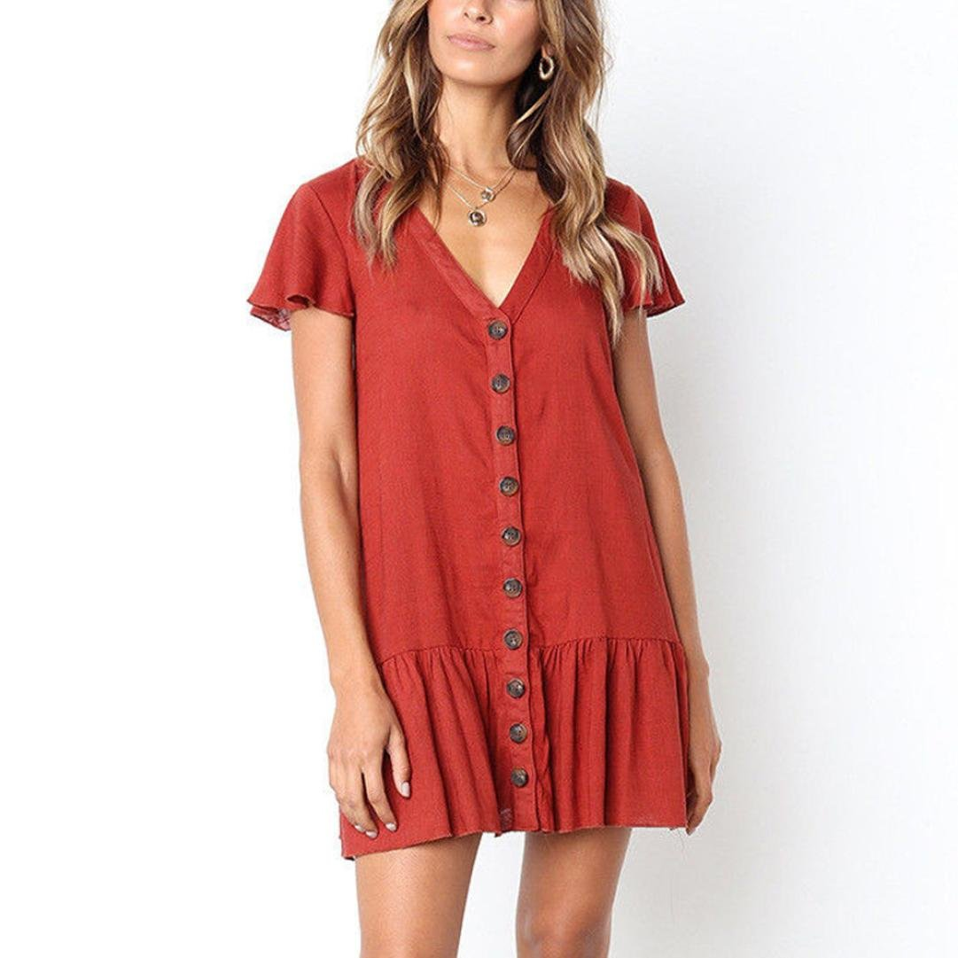 7afe50d15fe Amazon.com  Women V-Neck Flare Sleeve Mini Dress