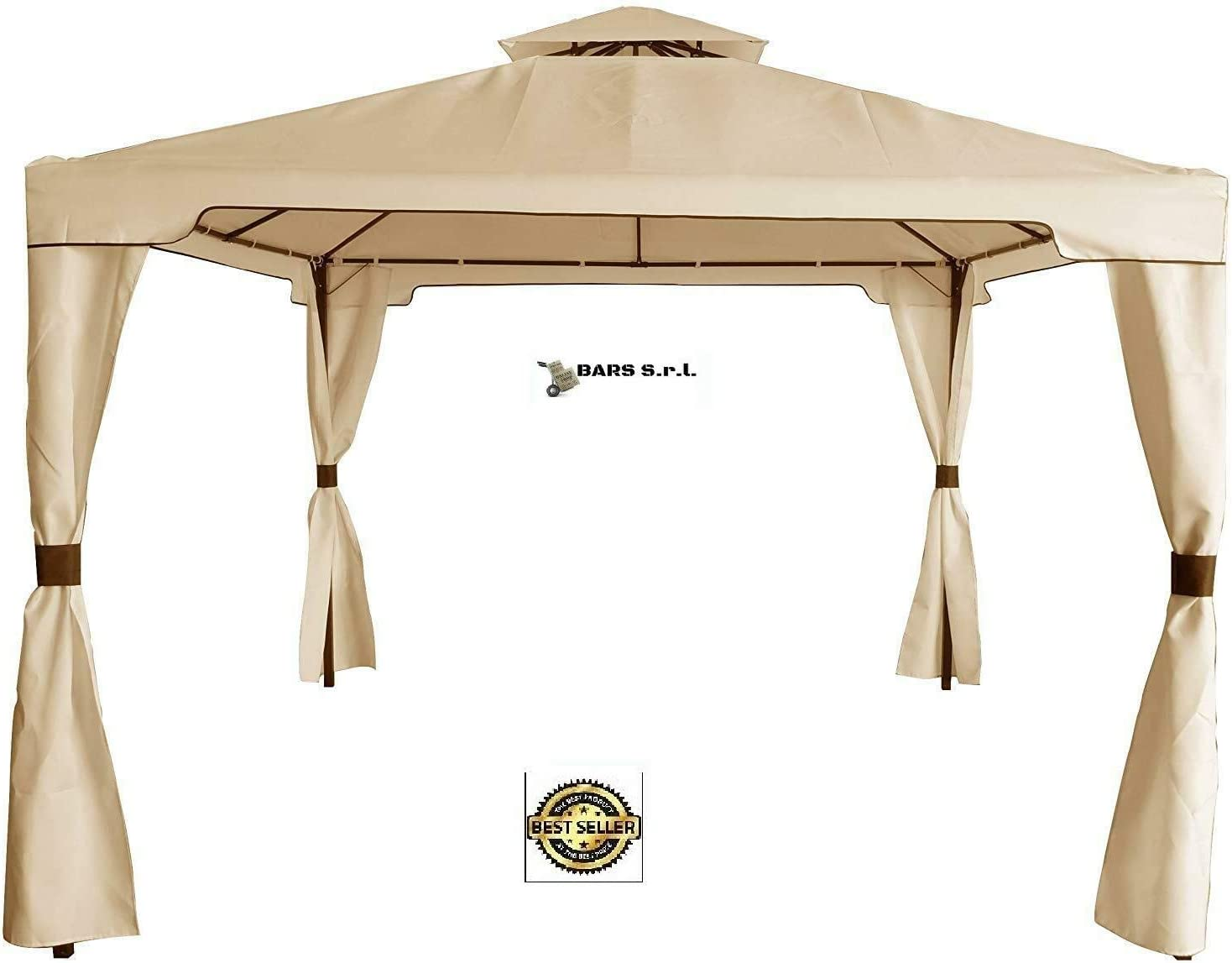 Bars Easyshop - Cenador de jardín con Lona Impermeable Beige de ...