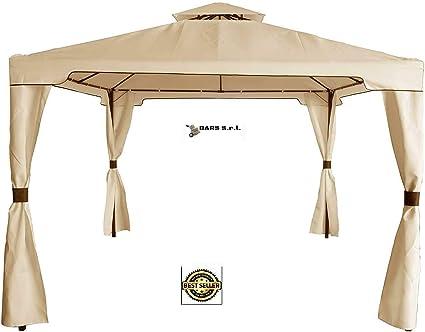Bars Easyshop - Cenador de jardín con Lona Impermeable Beige de Metal y Hierro Negro, 3 x 3 Metros y Doble Techo antiviento para Exterior, terraza, Bar, Piscina: Amazon.es: Jardín
