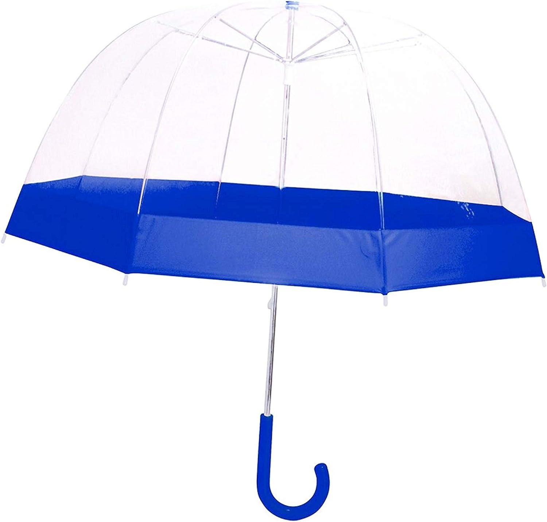 Transparent et bleu La chaise longue 36-1E-004B Parapluie Enfant Cloche Transparent liser/é bleu Poign/ée ergonomique Protection Anti-pincement