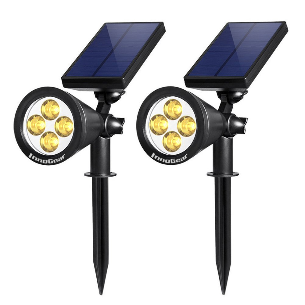 InnoGear Upgraded Solar Lights 2-in-1 Waterproof Outdoor Landscape Lighting Spotlight Wall Light Auto On/Off for Yard Garden Driveway Pathway Pool,Pack of 2 (White Light) (warm light)