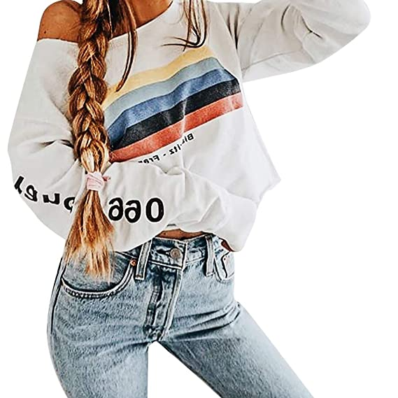 ALIKEEY Manga Larga De Las Mujeres Rainbow Stripes Sweatshirt ...