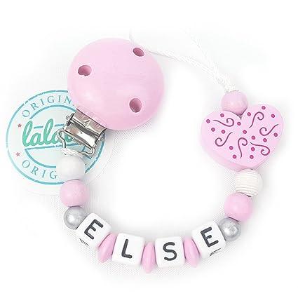 Cadena para chupete personalizable con nombre, rosa + ...