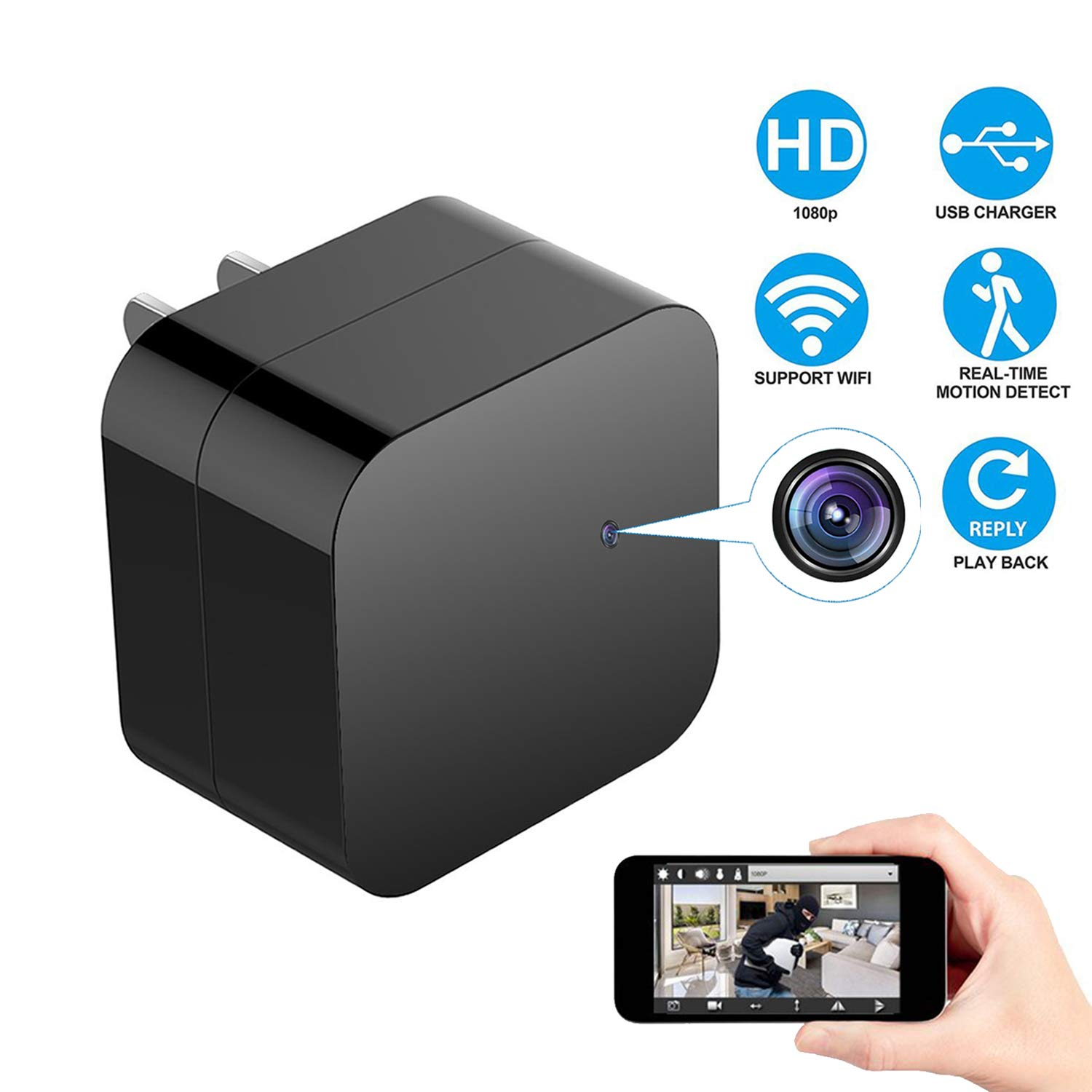 (Upgraded) Night Vision Hidden Spy Camera Wall Charger, WiFi Camera HD  1080P Remote View, Nanny Cam,USB Charger Camera with Motion Detection Loop
