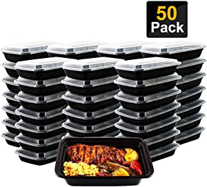 50pack Meal Prep Containers 26 oz Single 1 Compartment with Lids Food Storage Containers Disposable Lunch Containers plastic containers Microwaveable, Freezer & Dishwasher Safe (26oz Black)