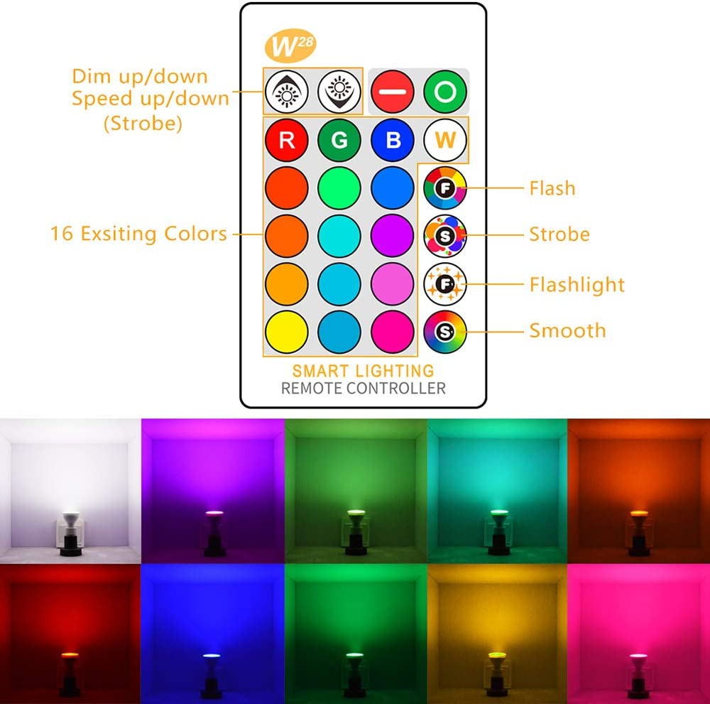 GU10 LED Bulbs Perfect for Party Festival Household Bar Wedding ALLOMN RGBW 8W LED Color Changing Spot Light with IR Remote Control 2 Pack 16 Colors 4 Modes and Memory Function