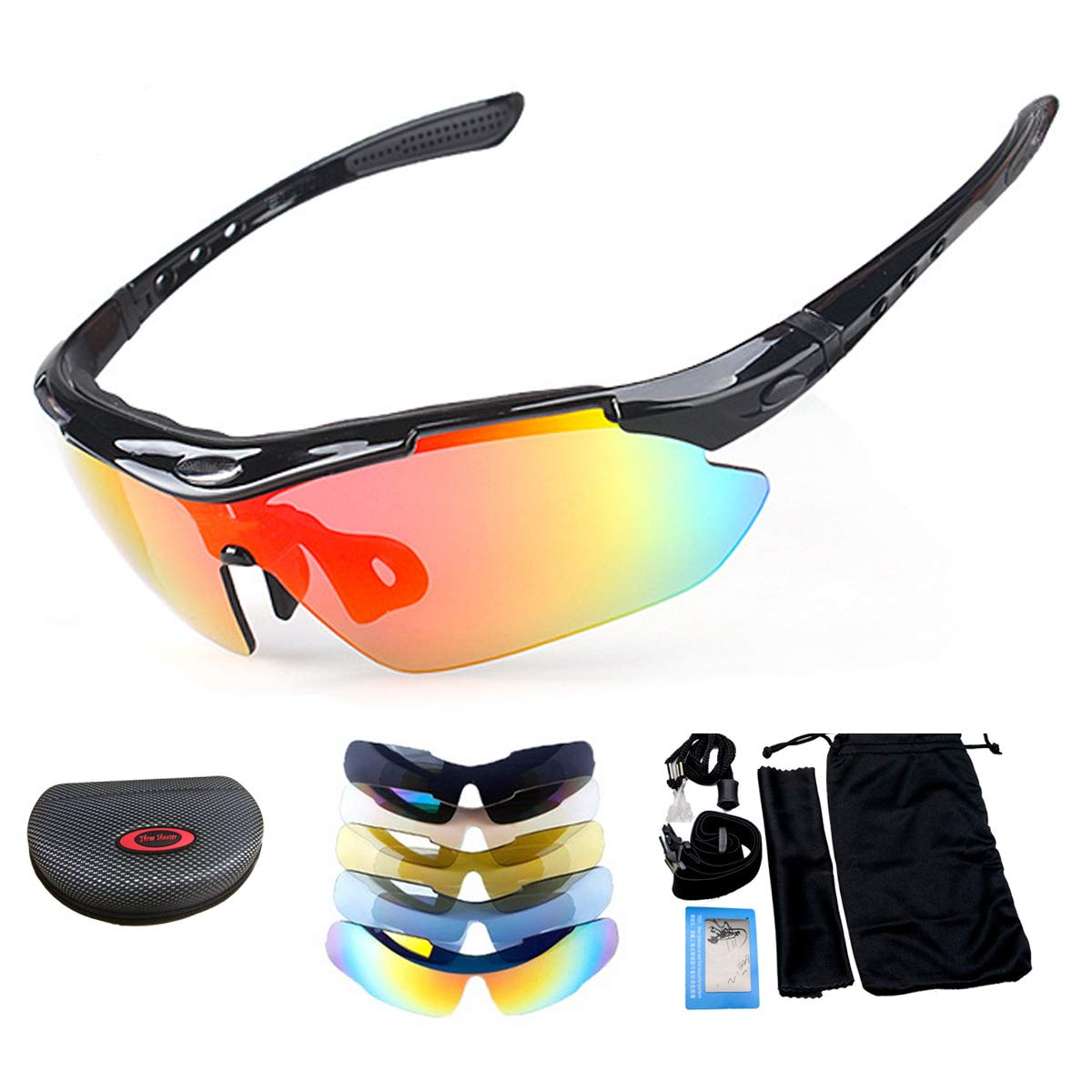 MASO Polarized Sports Sunglasses UV400 Cycling Glasses TR90 Unbreakable Frame with 5 Interchangeable Lenses for Men Women Driving Golf(Sand Black)