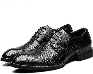 2018 Richelieus Homme, Hommes Cuir Véritable Chaussures Crocodile Peau Texture Haute Dentelle Jusqu'à Richelieus Doublés d'affaires Respirant (Color : Noir, Taille : 37 EU)