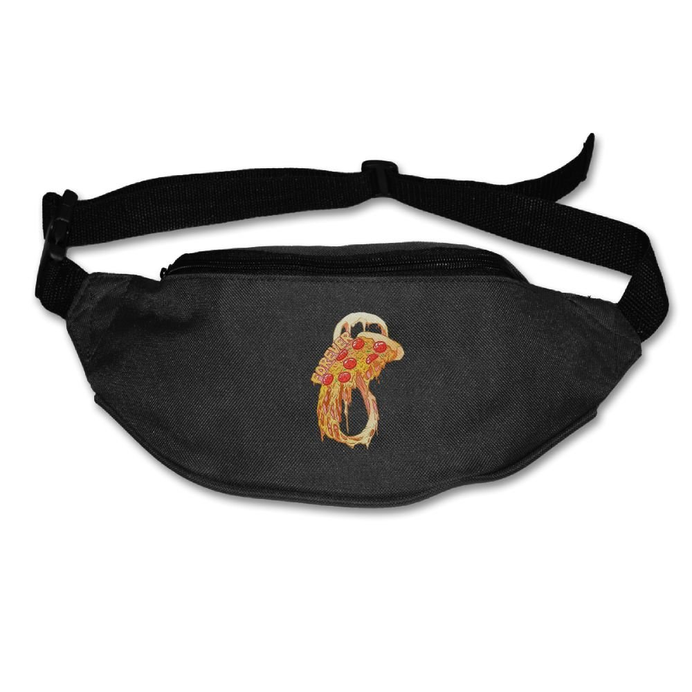 lovely Unisex Pockets Forever Pizza Fanny Pack Waist / Bum Bag Adjustable Belt Bags Running Cycling Fishing Sport Waist Bags Black