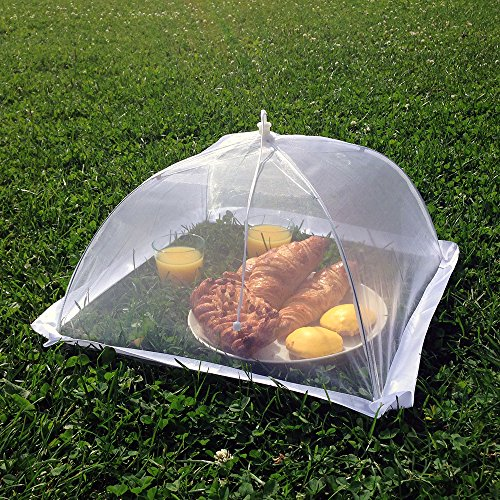 """Set of 6 Premium Pop Up Mesh Food Covers – Best Food Covers for Outdoors: Parties, Camping, Picnics and Beach – Foldable 16 x 16 x 10"""" Organza Food Tent Covers – Great Hostess Gift"""