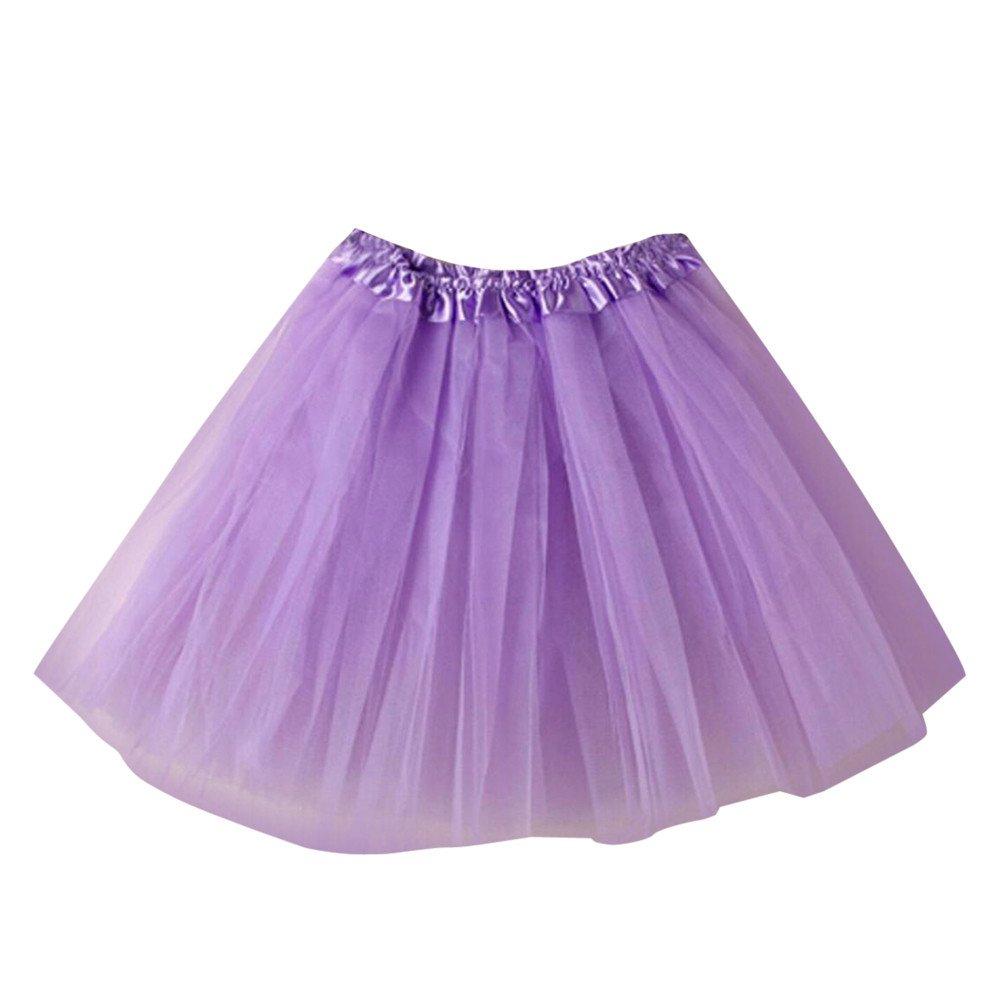 NUWFOR Women's Tutu Tulle Petticoat Ballet Bubble Skirts Short Prom Dress up?Light Purple?One Size?