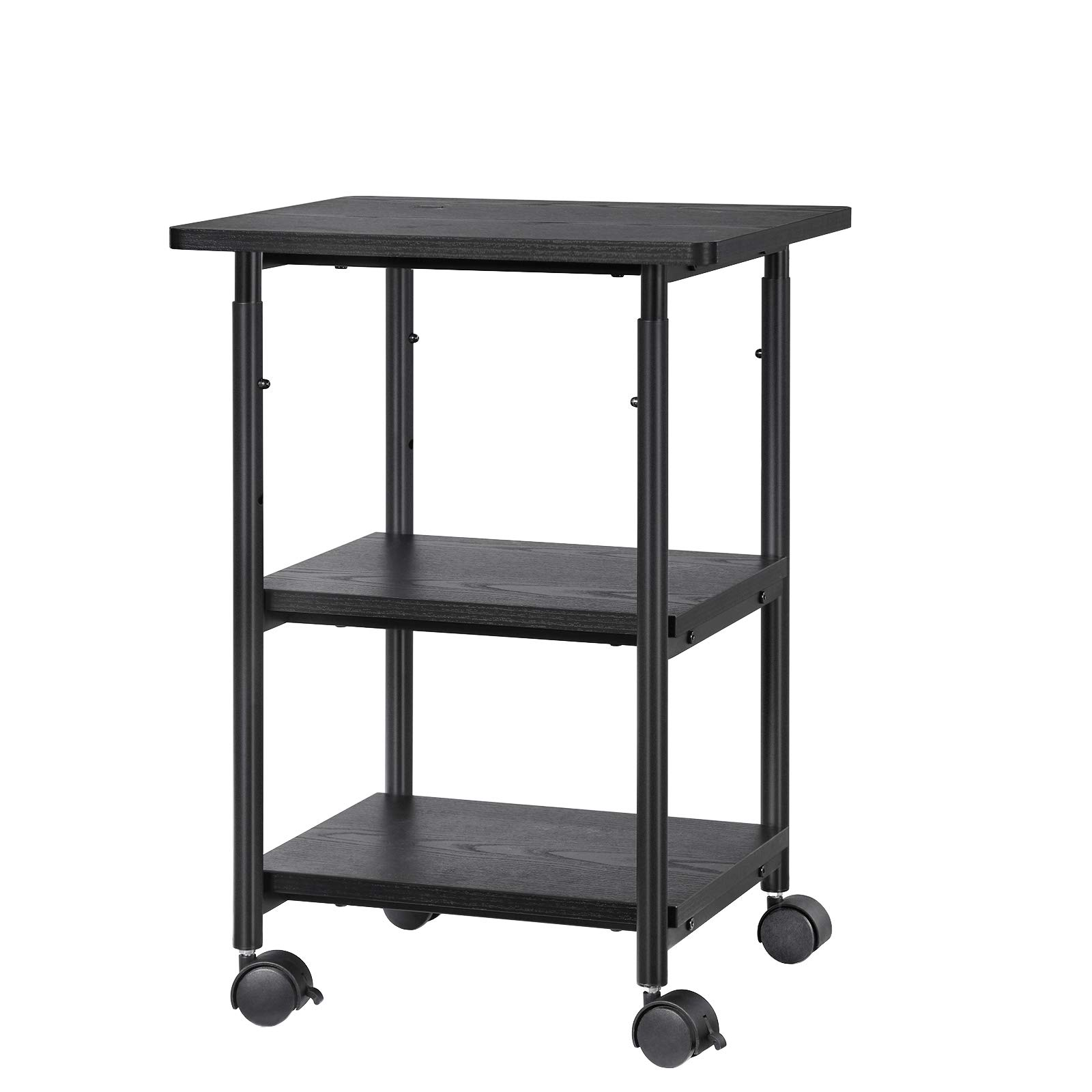 SONGMICS Adjustable Printer Stand Desk Mobile Machine Cart with 2 Shelves Heavy Duty Storage Trolley for Office Home Black UOPS03B by SONGMICS