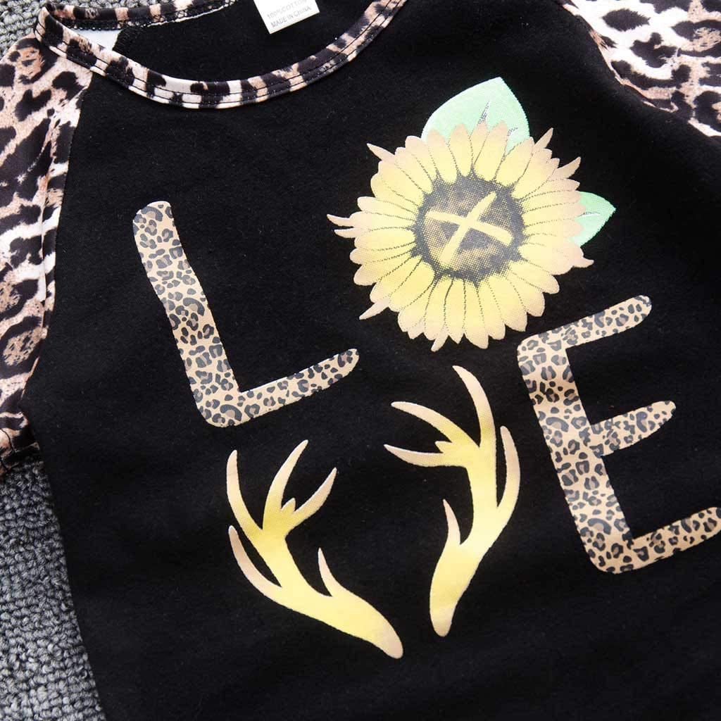 Hstore Toddler Outfits Set Kids Baby Girls Leopard Print Sunflower Letter T Shirt Pants 1-7Y