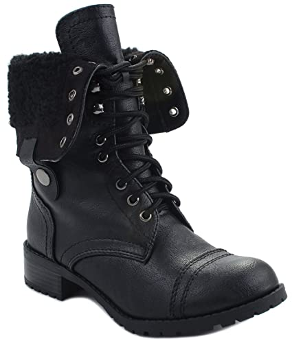 Oral-S Leatherette Lace Up Foldable Faux Shearling Fur Lined Combat Boots