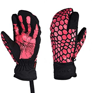 RFVBNM Touch Screen ski Gloves Adult Windproof Waterproof Outdoor Sports Motorcycle Thick Warm Gloves,Rose red,L