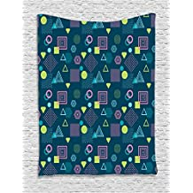 Ambesonne Geometric Tapestry by, Abstract Figures Squares Triangles and Dots Waves Striped Postmodern Illustration, Wall Hanging for Bedroom Living Room Dorm, 60 W X 80 L Inches, Multicolor