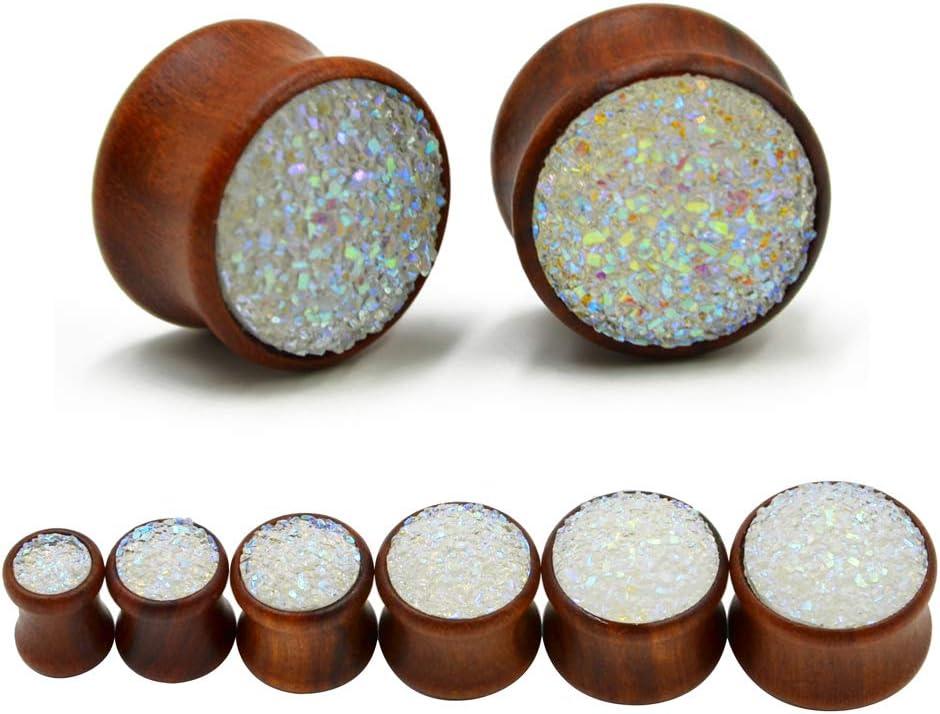 FDGBCF Drusas sintética Mineral Piedra Doble Acampanado de una Silla oído Gauge Extensores de joyería de Madera túnel de la Carne del Enchufe Perforaciones en el Cuerpo