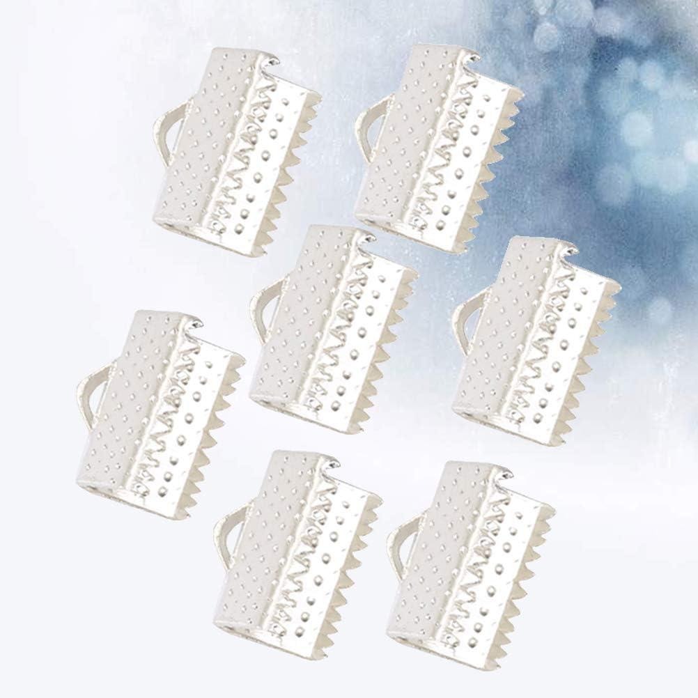 Blanco 2.5cm SUPVOX 100 unids Ribbon Ends Metal Bracelet Bookmark Fastener Broches Crimp End Accesorios de joyer/ía para DIY Craft Jewelry Making