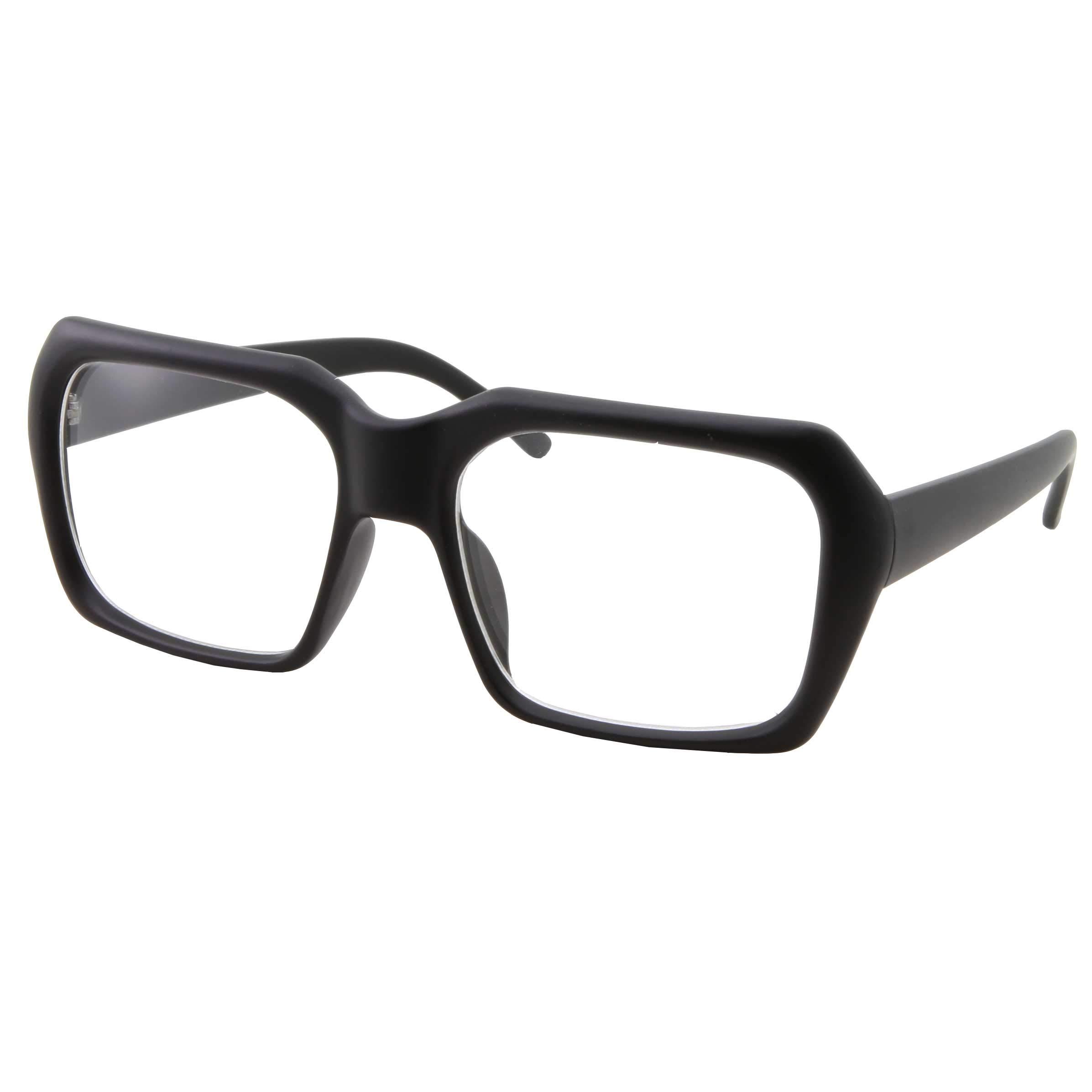 4de86d92ab66 XL Oversized Black Nerd Clear Glasses - Men and Women - Square Costume  (Matte Black)