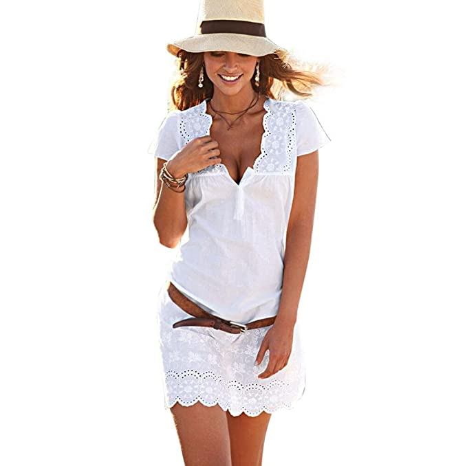 Overdose Women Summer V Neck Lace Short Sleeve Dress Blanco Todos los días Vacaciones Playa De