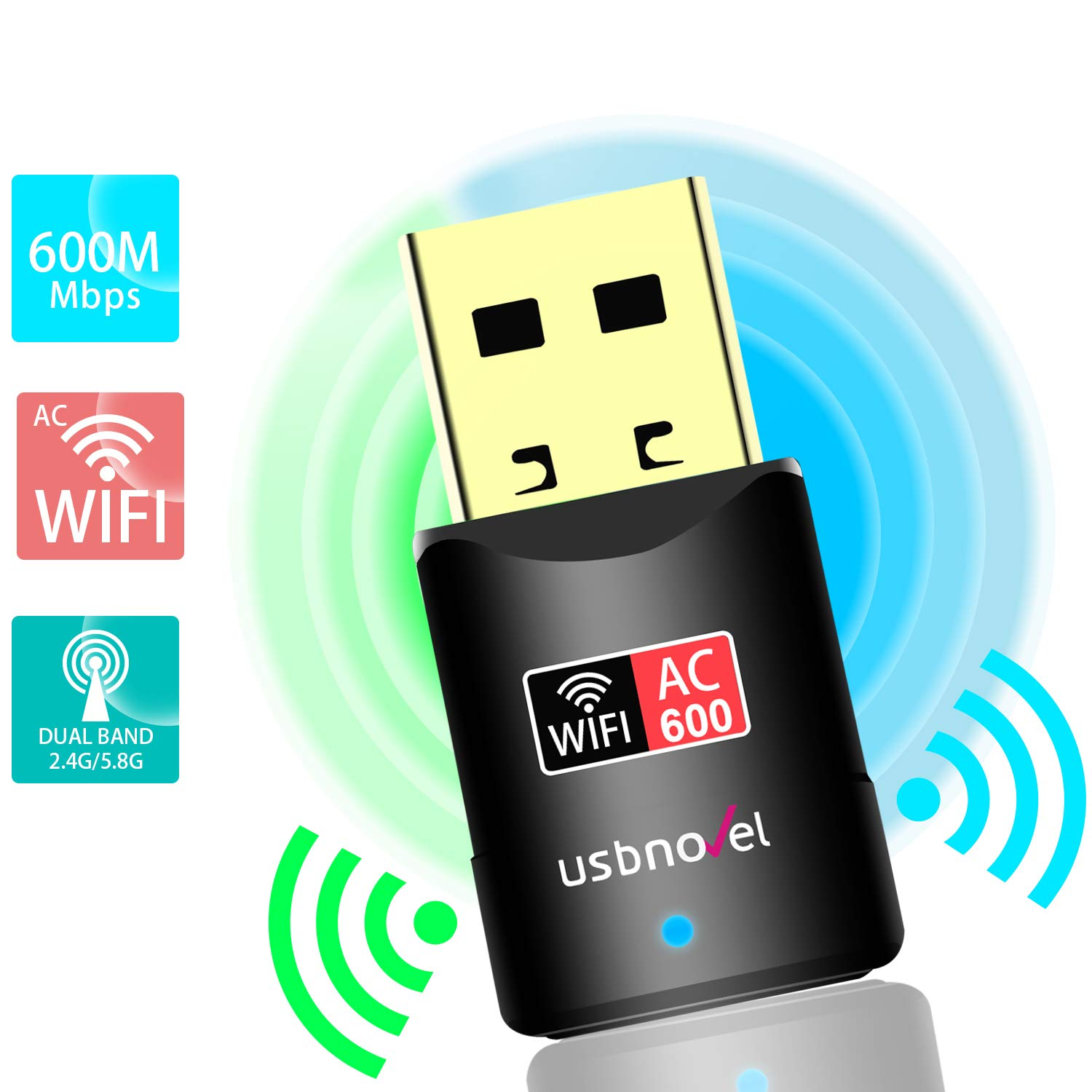 USB WiFi Adapter- 600Mbps USB Wireless Network WiFi Dongle Adapter for PC/Desktop/Laptop/Mac(Updated Version), Dual Band 2.4G/5G 802.11 ac,Support Windows 10/8/8.1/7/Vista/XP/2000, Mac OS 10.6-10.14