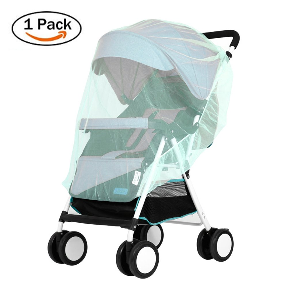 Lyonice Baby Mosquito Net for Stroller, Netting for Infant Carriers, Car Seat, Cribs, Cradles, Bassinets, Playpens, Soft Durable Insect Shield Netting, Mesh Cover - Green
