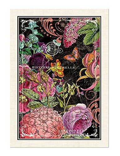 Michel Design Works Botanical Garden Cotton Kitchen Towel, Black/Pink TOW273