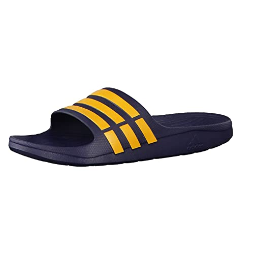 ad3c09d5389 Adidas Unisex Duramo Slide Collegiate Navy and Solar Gold Rubber Beach  Thong Sandals and Pool Shoes - 7 UK  Amazon.in  Shoes   Handbags