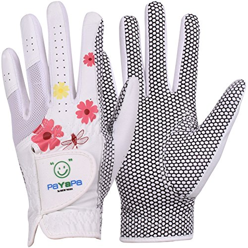 GH Women's Leather Golf Gloves One Pair - Flower Printed Both Hands (White, 20 (M))