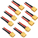 5 Pairs XT60 Plug Connector Female and Male with 14AWG Silicon Wire for RC Lipo Battery Cable Drone Car Boat