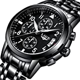 Men's Stainless Steel Wrist Watches Men Waterproof Analog Quartz Watch Fashoin Business Black Watches