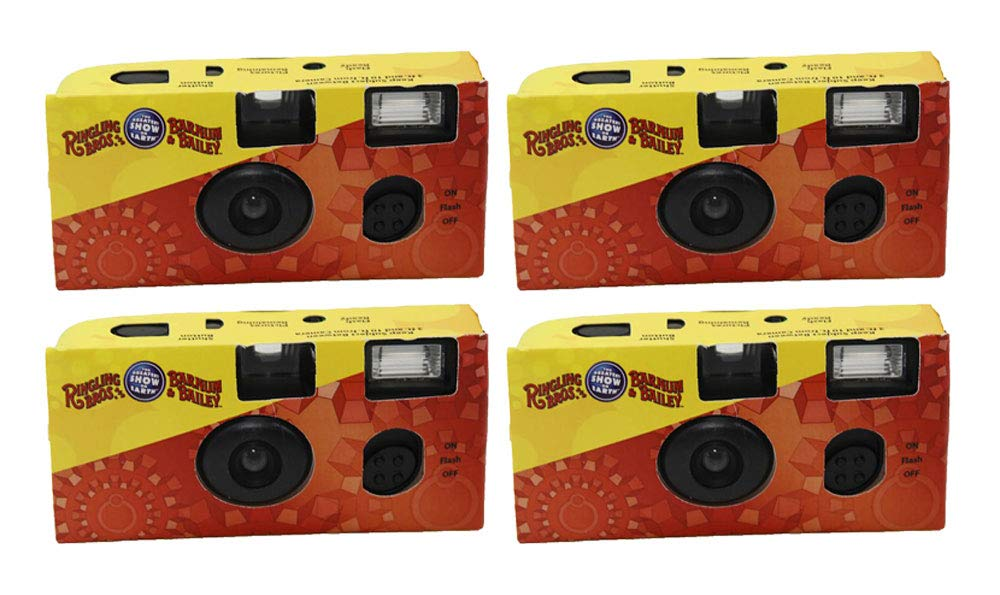 Ringling Bros 35mm Disposable Film Camera Flash 27 Exp ISO 800 Vintage (4 Pack) by Ringling