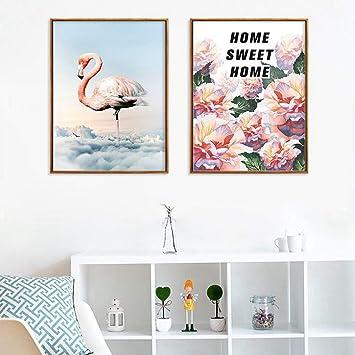 XINGMUZSH Pintura Decorativa Estilo De Pintura Al Óleo Flamencos Y Flores Imagen De Arte De La ...