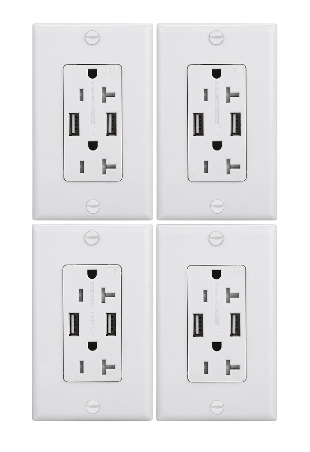 Anboter Duplex Receptacle Outlet ETL Certified Safety 4.0Amp Smart DC 2xUSB A Charger Socket/Outlet 20Amp Tamper Resistant Duplex Receptacle White (4 Pack,include one USB Type C Cable)