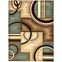 Well Woven Barclay Arcs & Shapes Light Blue Modern Geometric Area Rug 27 X 96 Runner