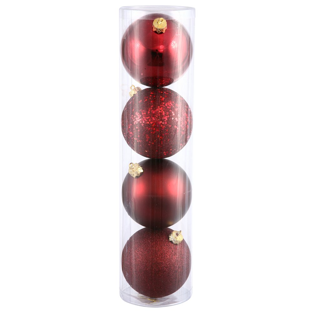 Vickerman 4-Finish Assorted Plastic Ornament Set & Seamless Shatterproof Christmas Ball Ornaments with Drilled Cap, Assorted 4 per Bag, 10'', Burgundy