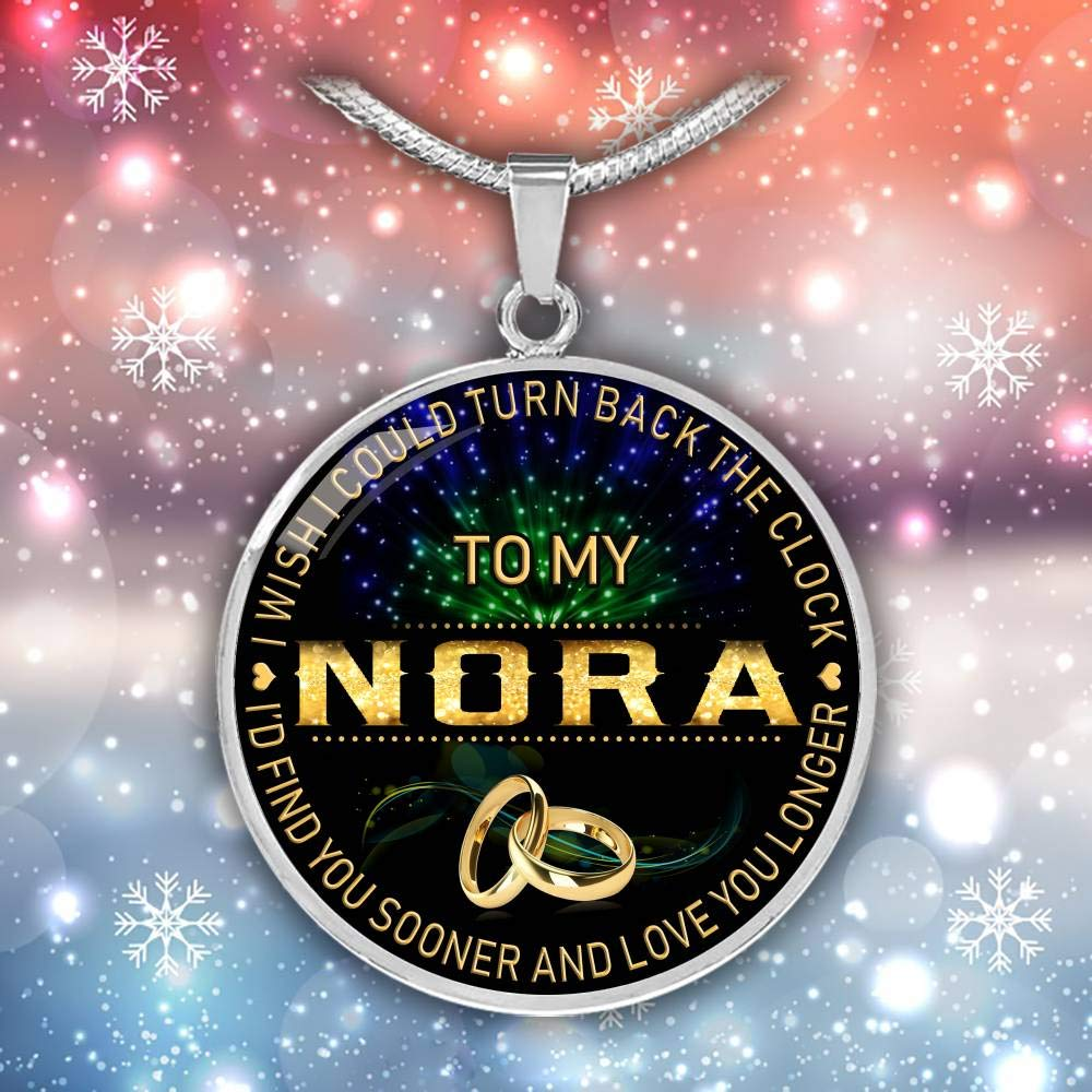 18K Gold Plated Funnyd Charm Necklace Jewelry Gift for Women HusbandAndWife Gifts Necklace for Mom and Daughter to My Nora I Wish I Could Turn Back Clock I Will Find You Sooner