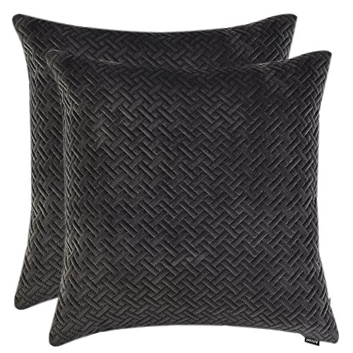 Artcest Set of 2, Decorative Velvet Bed Throw Pillow Case, Sofa Soft Quilted Pattern, Comfortable Couch Cushion Cover, 18