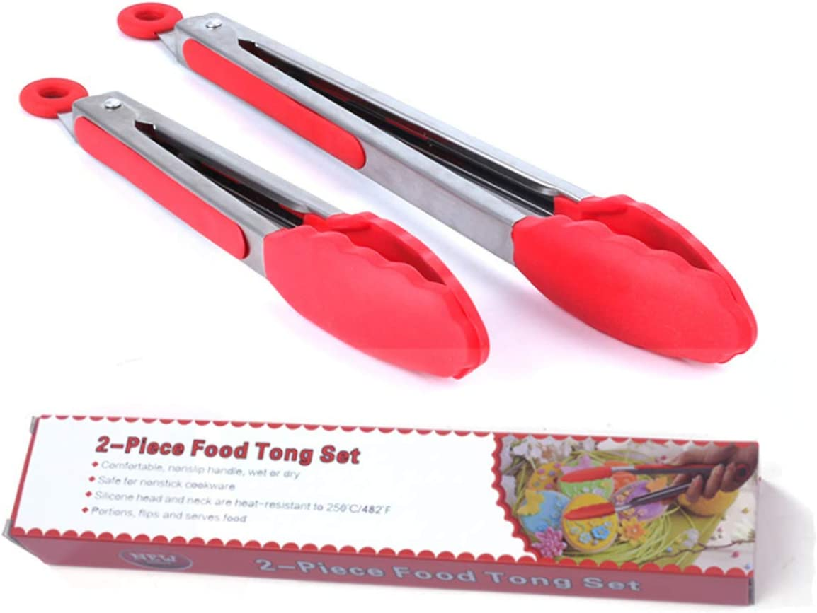 Grill BBQ /& Salad Red High Heat Resistant to 9-Inch /& 12-Inch - Stainless Steel with Non-Stick Silicone Tips Serving for Cooking CLAIERY Premium Silicone Kitchen Tongs
