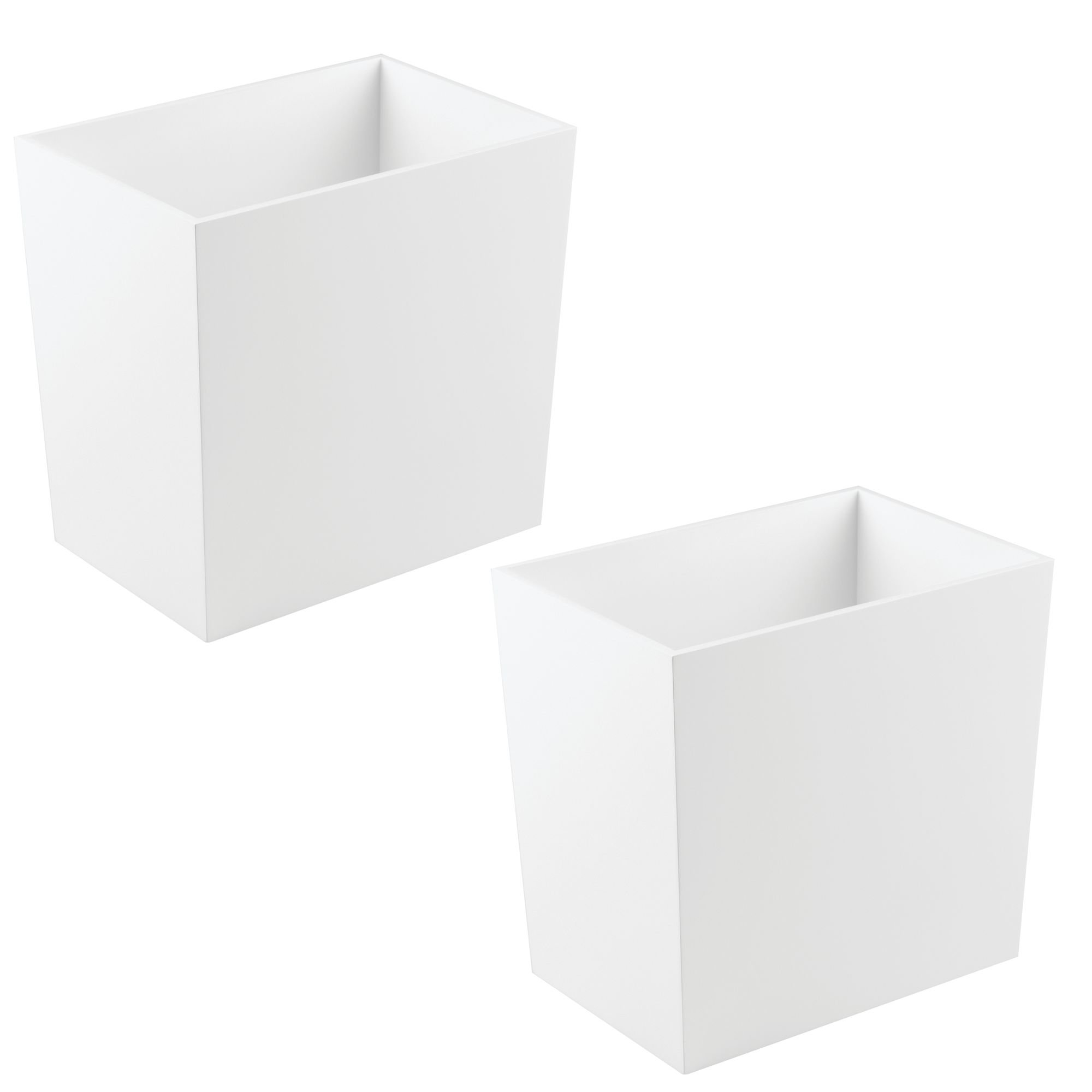 mDesign Rectangular Narrow Wood Trash Can Wastebasket, Small Garbage Container Bin for Bathrooms, Kitchens, Home Offices, Craft Rooms - 2 Pack - White