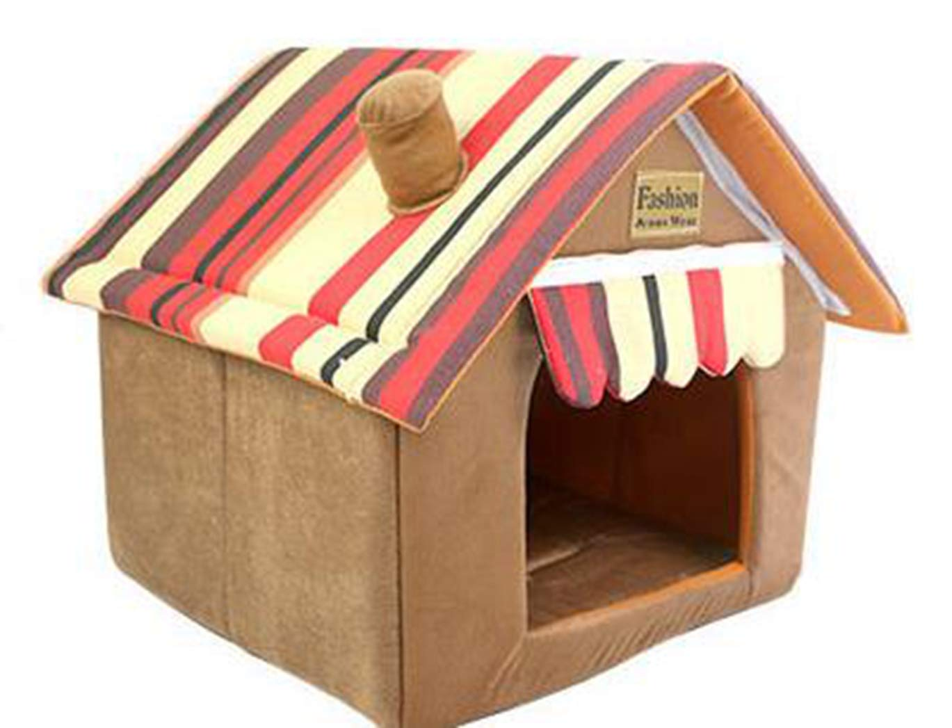 BROWN S SENERY Folding Pet Dog House, Stripped Remable Cover Mat House Beds for Small Medium Dogs Pet Cat