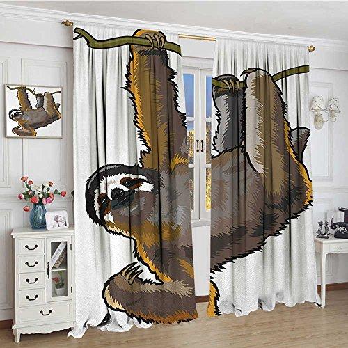 Animal Thermal Insulating Blackout Curtain Cartoon like Sloth Bear Tropic Wild Cute Lazy Sleepy Creature Australian Theme Artwork Decorative Curtains For Living Room 96''x96'' Grey by smallbeefly