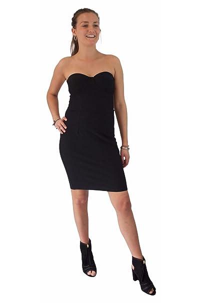 Vestido Ajustado Bandeau Negro con Soporte | Mini Vestido Strapless de Ajuste Elástico y Cremallera en la parte Trasera: Amazon.es: Ropa y accesorios