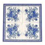 Blue Floral Decorative Paper Napkins, 2-Ply