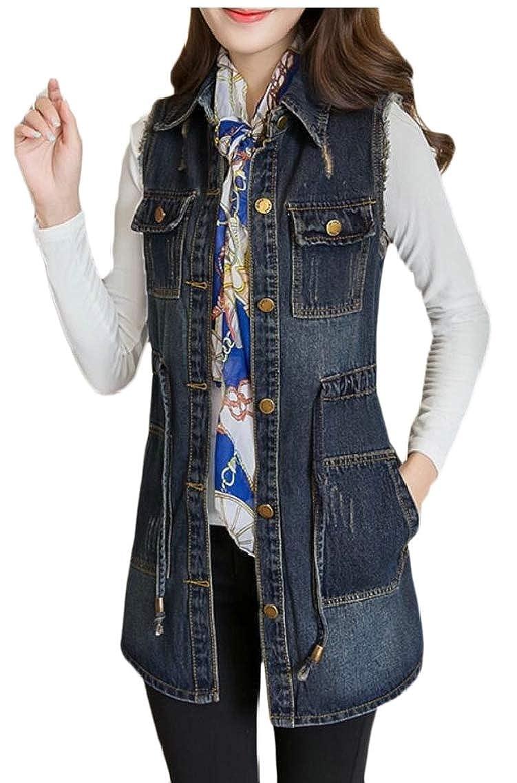 Women's Jean Sleeveless Long Waistcoat Jacket Top Denim Vest Distressed