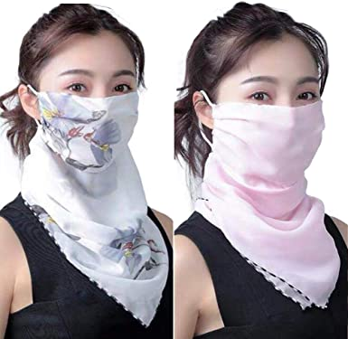 Ice Silk Sports Bandana Head Scarf Neck Tube Ear Hanging Face Cover with Filter