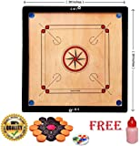 SMT Full Size 32 Inches Round Pocket Carrom Board with Coins, Striker, and Powder (Large)