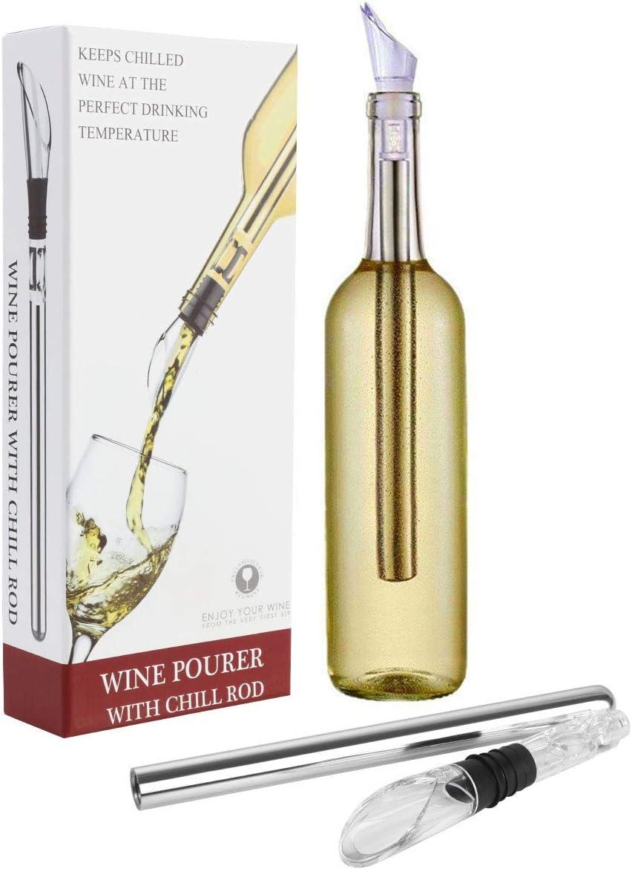 Vicloon Enfriador de Vino, Enfriador Botellas Vino con Varilla de Enfriamiento, Acero Inoxidable Aereador y Vertedor, Antigoteo y Duradero para Los Amantes del Vino